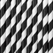 Pailles de Fête en papier Rayure Noire (x24)