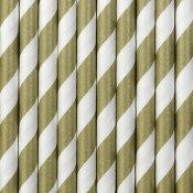Pailles de Fête en papier à Rayure Or (x24)