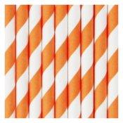 Pailles de Fête en papier à Rayure Orange (x25)