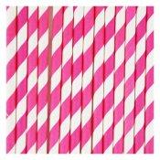 Pailles de fête en papier Rayure Rose Fuchsia (x20)