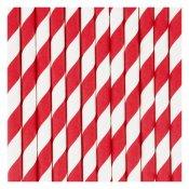 Pailles de fête en papier Rayure Rouge (x20)