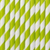 Pailles de Fête en papier Rayure Verte (x25)