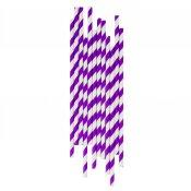 Pailles de Fête en papier à Rayure Violet (x25)