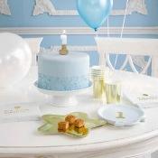 Petites Assiettes Ballons 1 an Bleu & Or (x6)
