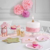 Petites Assiettes Ballons 1 an Rose & Or (x6)