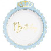 Petites Assiettes en carton 1st Birthday Bleu & Or (x4)