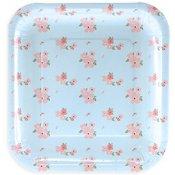 Petites Assiettes en carton Carré Bleu à Fleur (x6)