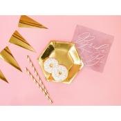 Petites Assiettes en carton Héxagonale Or Uni (x6)