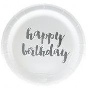 Petites Assiettes en carton Happy Birthday Argent (x6)