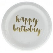 Petites Assiettes en carton Or Happy Birthday (x6)