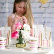Petites Assiettes en carton Pois Rose & Or (x5)