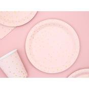 Petites Assiettes en carton Pois Rose & Or (x6)