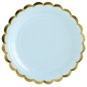 Petites Assiettes en carton Uni Bleu & Or (x6)