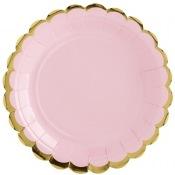 Petites Assiettes en carton Uni Rose & Or (x6)