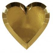 Petites Assiettes en forme de Coeur Or (x4)