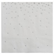 Petites Serviettes en papier Etoiles Argent (x16)