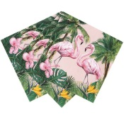 Petites Serviettes en papier Flamant Rose Tropical (x20)