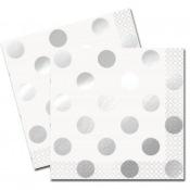 Petites Serviettes en papier Pois Argenté (x16)