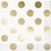 Petites Serviettes en papier Pois Or (x16)