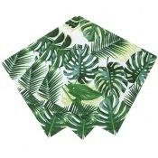 Petites Serviettes Feuillage Vert Tropicale (x20)