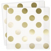 Petites Serviettes papier Blanc Pois Or (x16)