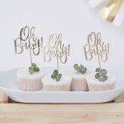 Pics à cupcake Oh Baby Doré (x12)