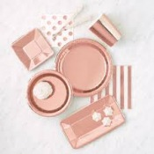Plats rectangle en carton métallisé Rose Gold (x8)