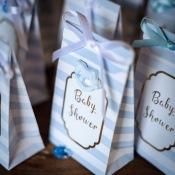 Pochettes Baby Shower Bleu Pastel & Or (x10)