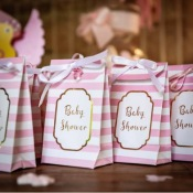 Pochettes Baby Shower Rose Pastel & Or (x10)