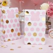 Pochettes cadeaux à pois rose et or (x5)