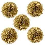 Pompons en papier de soie or métallisé (x5)