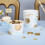 Pot à glace à pois bleu et or (x8)