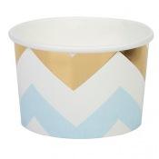 Pots à glace Chevron Bleu et Or (x8)