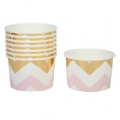 Pots à glace Chevron Rose et Or (x8)