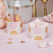 Pots à glace pois Rose et Or (x8)