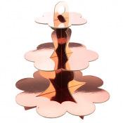 Présentoir 3 étages en carton Rose Gold métallisé 34 cm