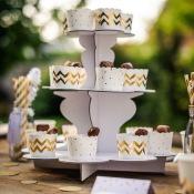 Présentoir à gâteaux Blanc 3 étages