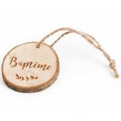 Rondins en bois Baptême avec ficelle (x4)