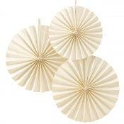 Rosaces en papier Blanc Ivoire (x3)