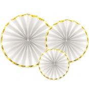 Rosaces en papier Blanc & Or (x3)