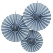 Rosaces Eventail Bleu Pastel (x3)