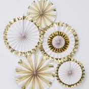 Rosaces à suspendre Or & Blanc Métallisé (x5)
