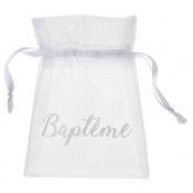 Sachets à dragées Organdi Baptême Blanc (x6)