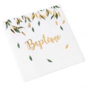 Serviettes en papier Baptême Végétal & Or (x16)