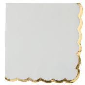 Serviettes en papier Blanc & Lisière Doré (x16)