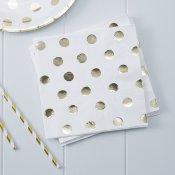 Serviettes en papier Blanc Pois Or (x20)