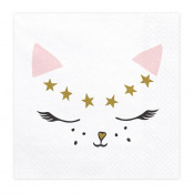 Serviettes en papier Chat Rose & Or (x20)