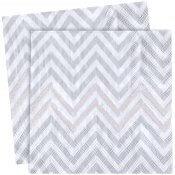Serviettes en papier Chevron Argenté (x20)
