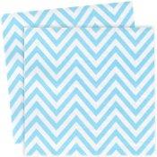 Serviettes en papier Chevron Bleu Pastel (x20)