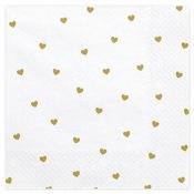 Serviettes en papier Coeur Blanc & Or (x20)